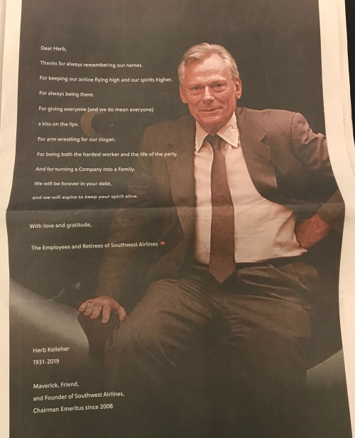 herb kelleher tribute ad in wsj january 2019